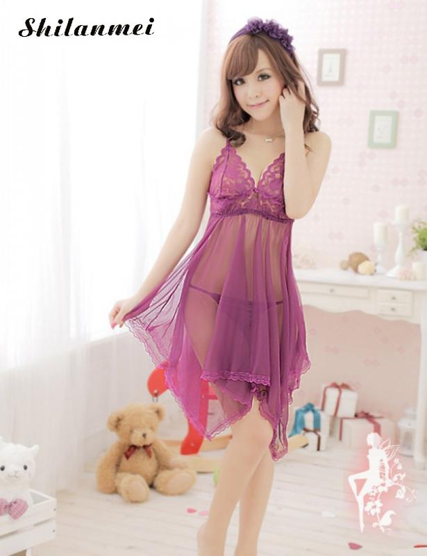Women's Clothing   Nightgowns   Woman Lace Sexy   Sleepshirts   Sleeveless Sling Lingerie V-neck Backless Pure Color Night Dress