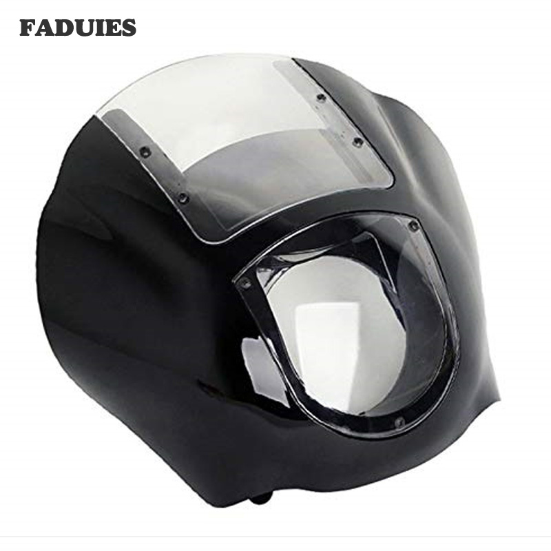 For Bike Sportster XL 1200 883 XL883N Dyna FXR 1986-2017 Motorcycle ABS Quarter Headlight Fairing W/Windshield