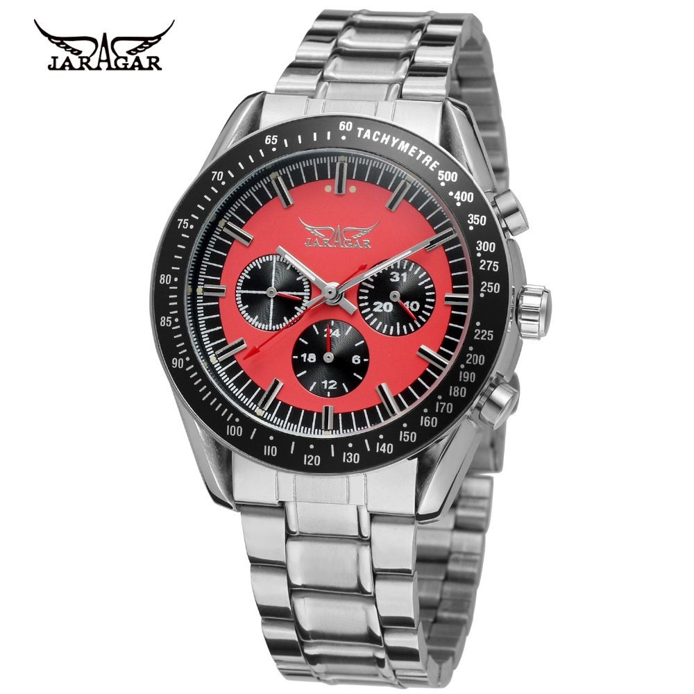 High Class Cool Red Dial Waterproof Stainless Steel Automatic Jargar Watches Men 2016 New Fashion Sport