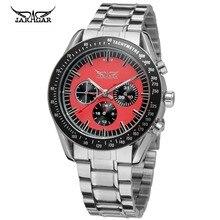 Высокий Класс Холодный Красный Циферблат Водонепроницаемый Нержавеющей Стали Автоматические Jargar Мужские Часы 2016 Новая Мода Спорт Militry Часы