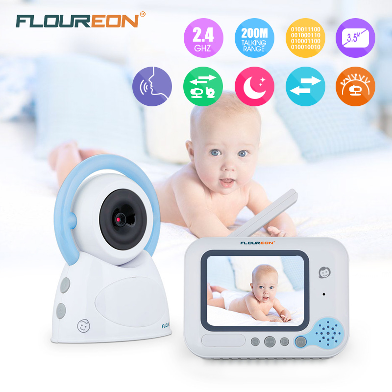 Floureon 3.5 inch LCD Screen baby monitor Wireless Security Camera 2 Way Talk Nigh Vision Video Baby monitor blue floureon 3 5 inch wireless digital baby monitor color lcd two way talk night vision audio video surveillance security camera