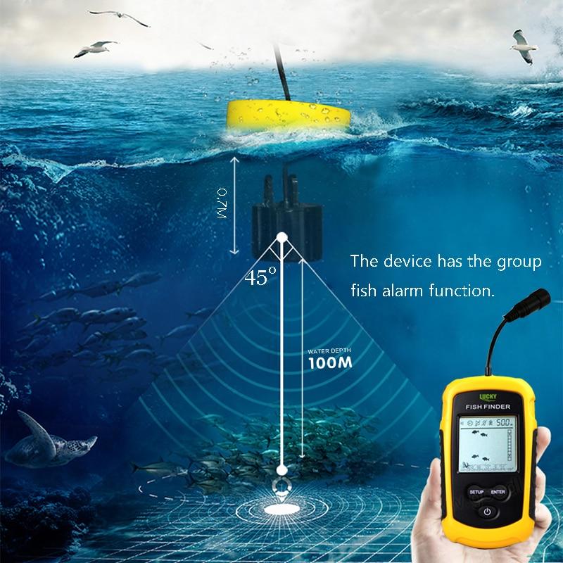 GLÜCK Echolot Sonar FishFinder FF1108-1 Wasser Tiefe Temperatur Fishfinder mit Verdrahtete Sonar Sensor Transducer fish finder