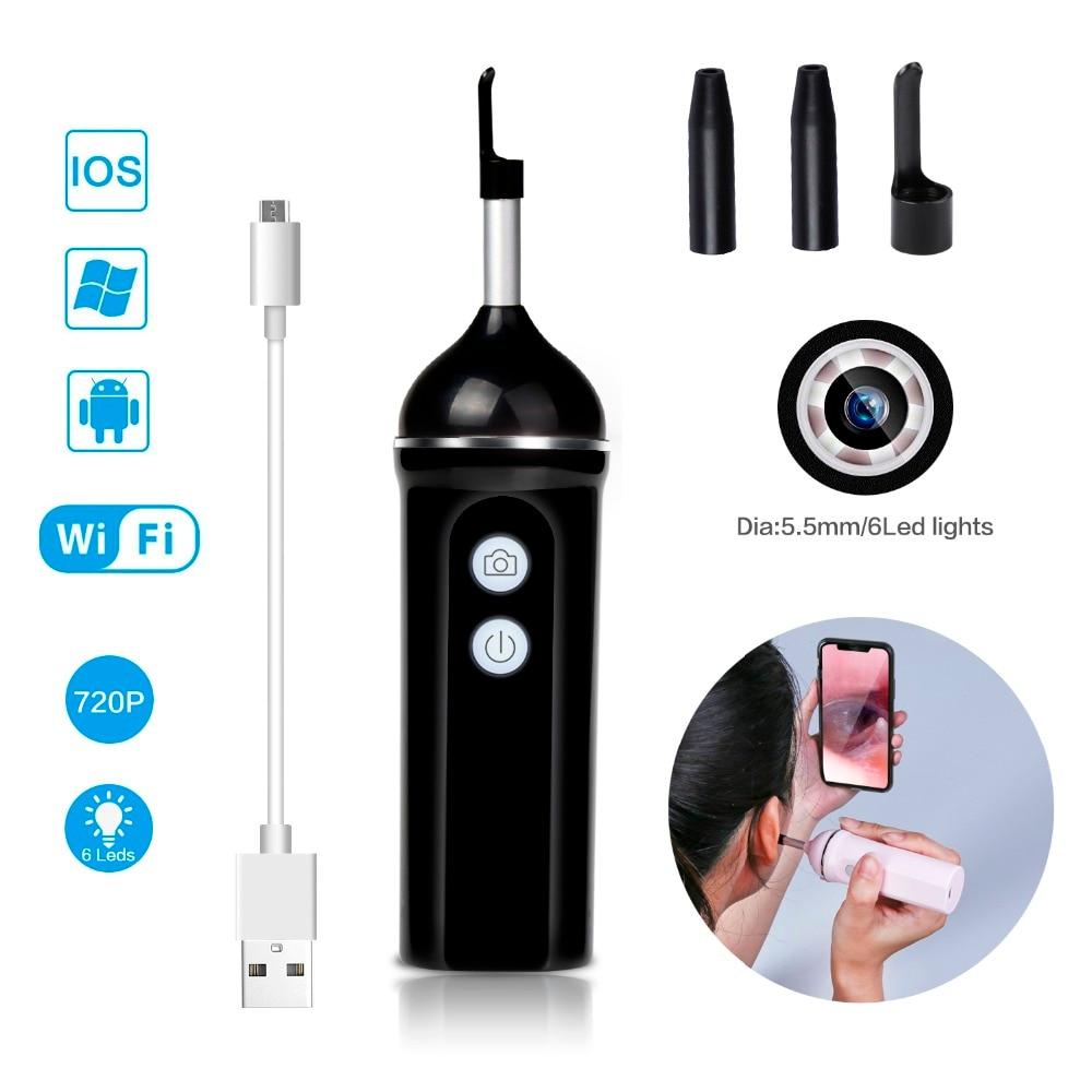 WiFi Oreille Nettoyage Endoscope Mini Oreille Endoscope Caméra 1.0Mp 720 p HD Sans Fil Oreille Portée Cérumen Outil De Nettoyage Pour iphone IOS