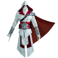 Ezio Auditore Da Firenze Cosplay Assassin S Creed Discovery Brotherhood And Revelations White Battle Costume With