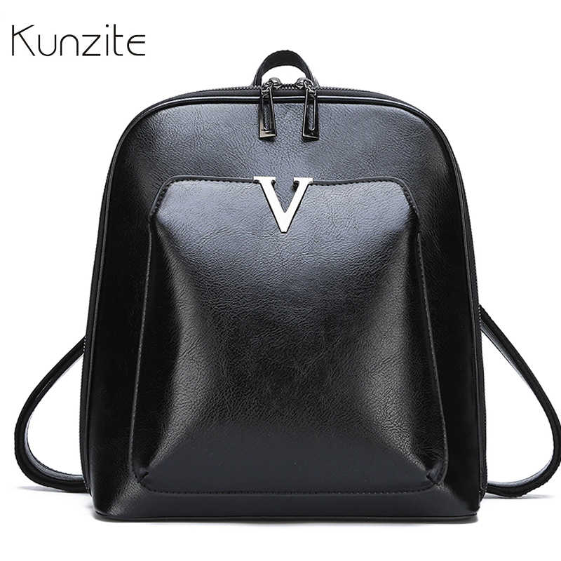 Famous Design Women's Backpack Female Brown Black Solid Leather Backpacks for Girls Large Capacity School Bags Sac A Dos Mochila