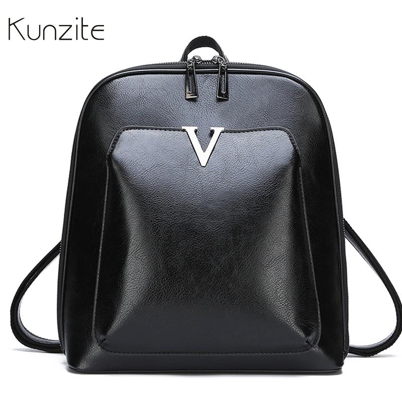 f62cf99e676d Известный Дизайн Для женщин рюкзак женский коричневый, черный однотонные кожаные  рюкзаки для девочек большой Ёмкость Школьные Сумки Sac Dos .