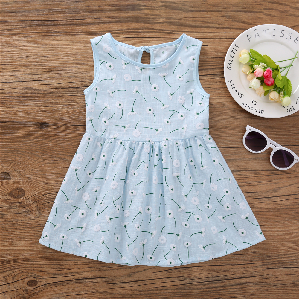 HTB1oJ27adzvK1RkSnfoq6zMwVXaL Kids Dresses for Girls Summer Girl Sleeveless Dress Toddler Flower Print Princess Dress 1 2 3 4 5 6 7 Years Children's Clothing