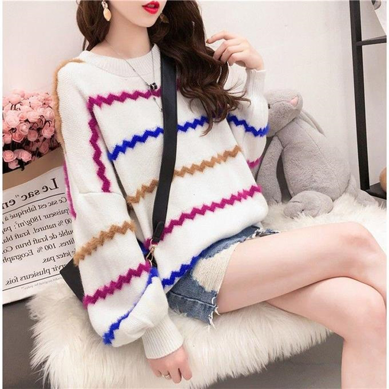 Rainbow Colorful Stripe Casual Sweater Women Autumn Winter Warm Loose Lantern Sleeve Knitted Sweater Pullovers Jumper Pull Femme in Pullovers from Women 39 s Clothing