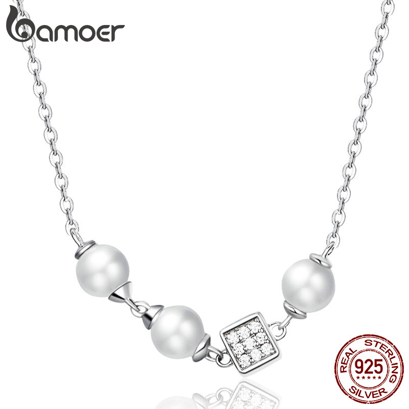 bamoer Round and Cube Pearl Choker Necklace for Women Elegant Female Birthday Gifts Wedding Statement 925 Silver Jewelry BSN100