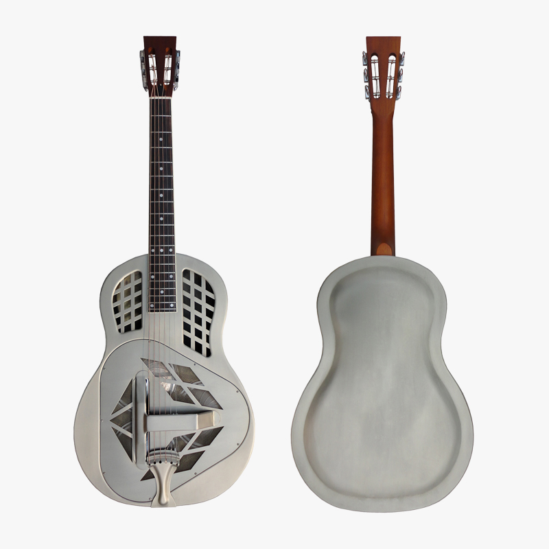 цена Aiersi Matt Chrome Plated Tricone Metal Body Resonator Guitar With Free Guitar Case and Strap A49-BCM