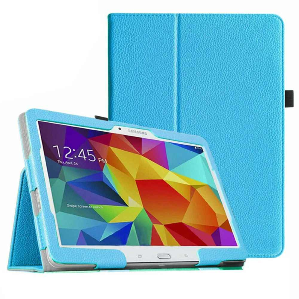 Case PENUTUP UNTUK Samsung Galaxy Tab 4 10.1 SM T530/T531/T535 Lichi Puleather Pelindung Tablet Case cover untuk SM-T530 SM-T531