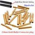 20 пар/лот 2.0 мм 2 мм RC Золотая Пуля Разъем Батареи ESC Банановый Штекер с Термоусадочной Трубки