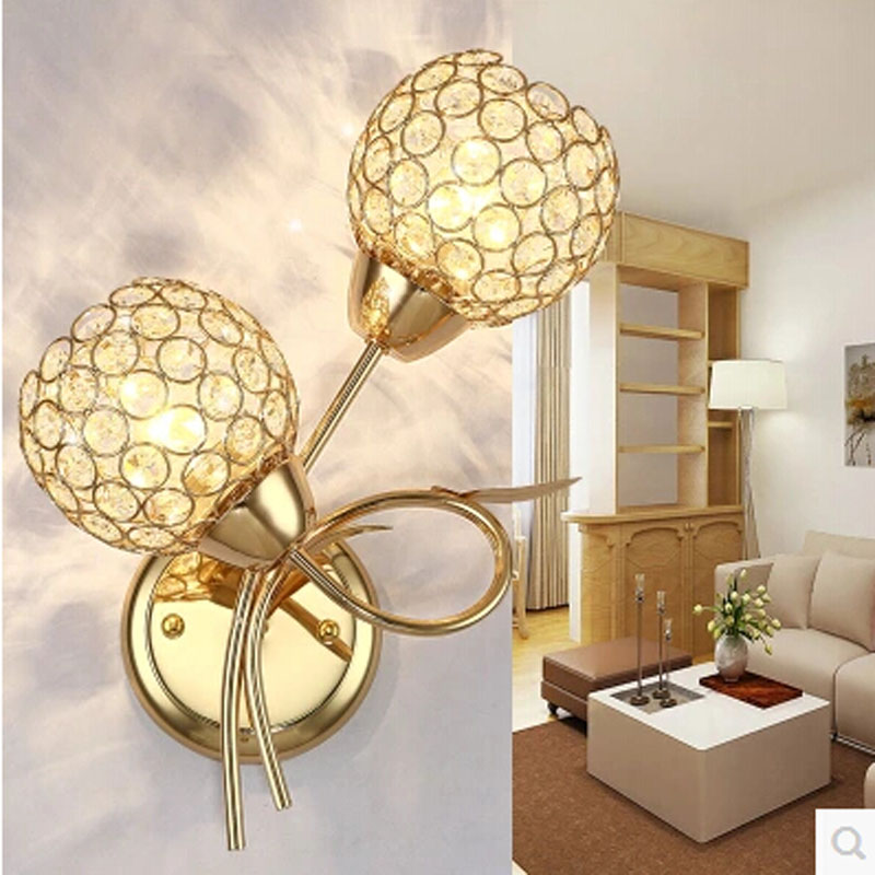 ФОТО Crystal Wall Lamps Golden Double Balls Modern LED Crystal Wall Lamp Light Sconce for Home Lighting Arandela Lampara De Pared