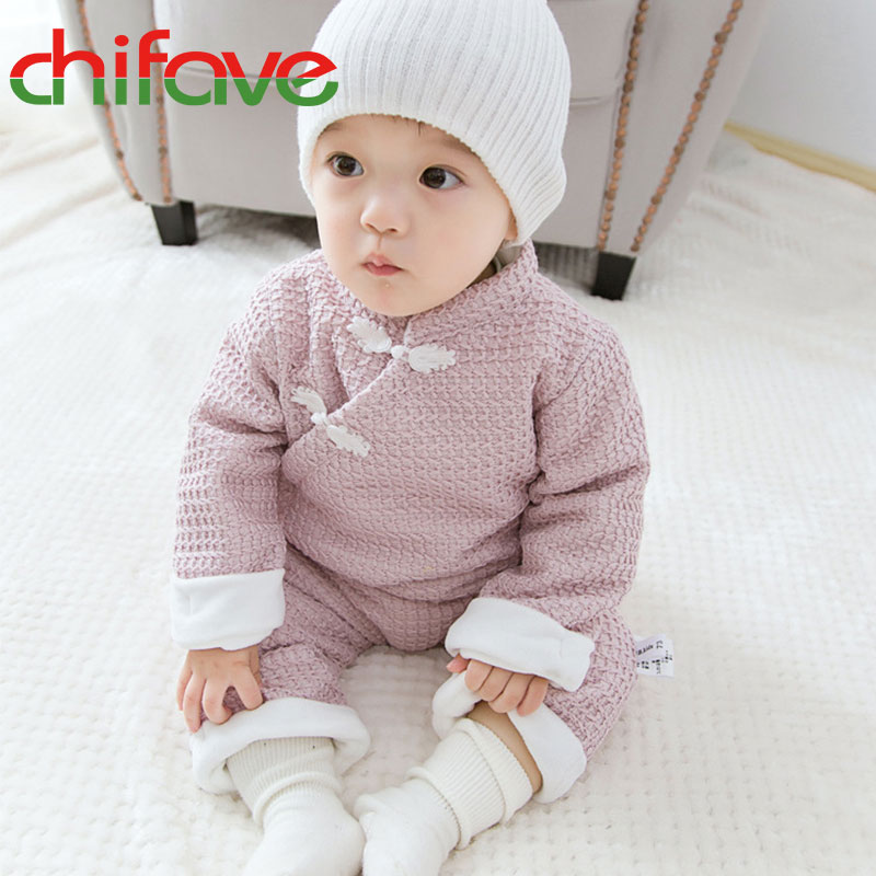 Infant Baby Warm Romper Unisex Newborn Kids Long Sleeve Clothes Boys Girls National Style Frogs Jumpsuit 2 Colors Suit Cute Baby unisex winter baby clothes long sleeve hooded baby romper one piece covered button infant baby jumpsuit newborn romper for baby
