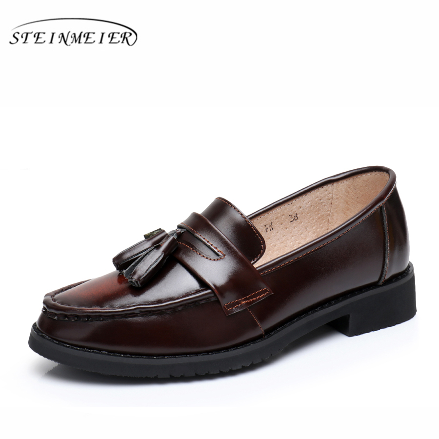 Genuine leather woman tassel vintage flats casual shoes round toe handmade Beige brown black oxford shoes for women with fur hot sale mens italian style flat shoes genuine leather handmade men casual flats top quality oxford shoes men leather shoes