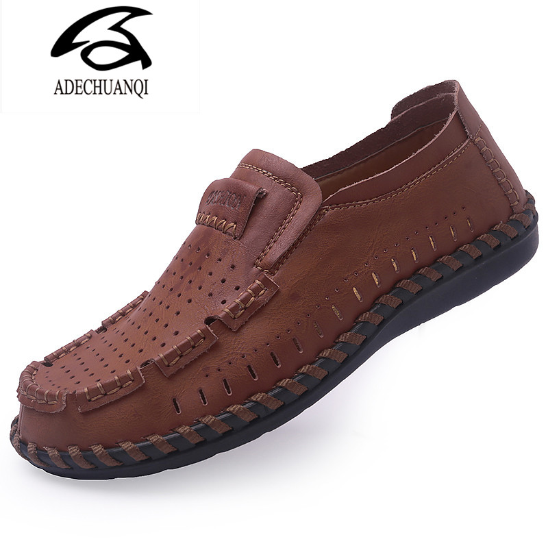 Summer Men Shoes Casual Luxury Brand  Genuine Leather Mens Loafers Moccasins Italian Breathable Slip on Boat Shoes