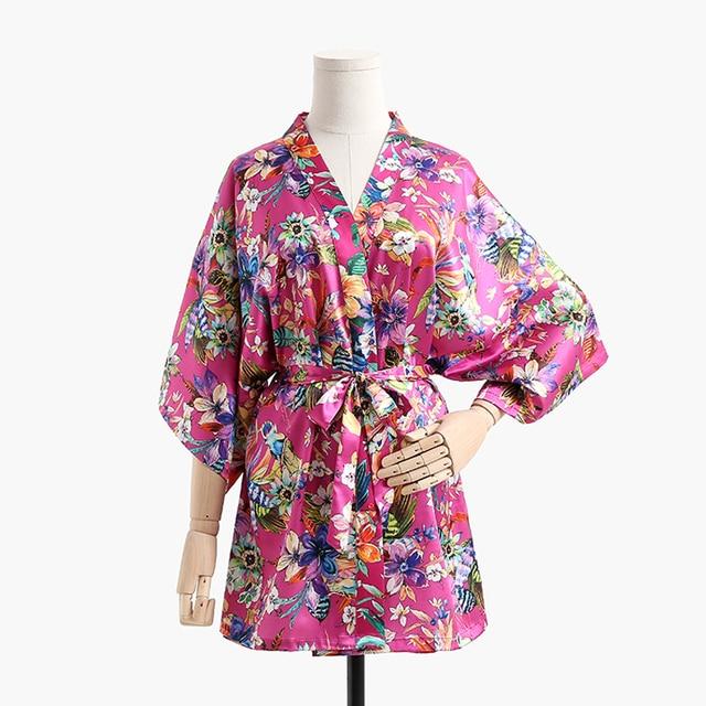 Brand Designer New Female Printed Floral Kimono Dress Gown Silk ...