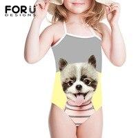 FORUDESIGNS בנות בגד ים חתיכה אחת בגדי ים לילדים Kawaii ילדי הדפסת כלב Bandean בביקיני בגד ספורט החוף תלבש 2018