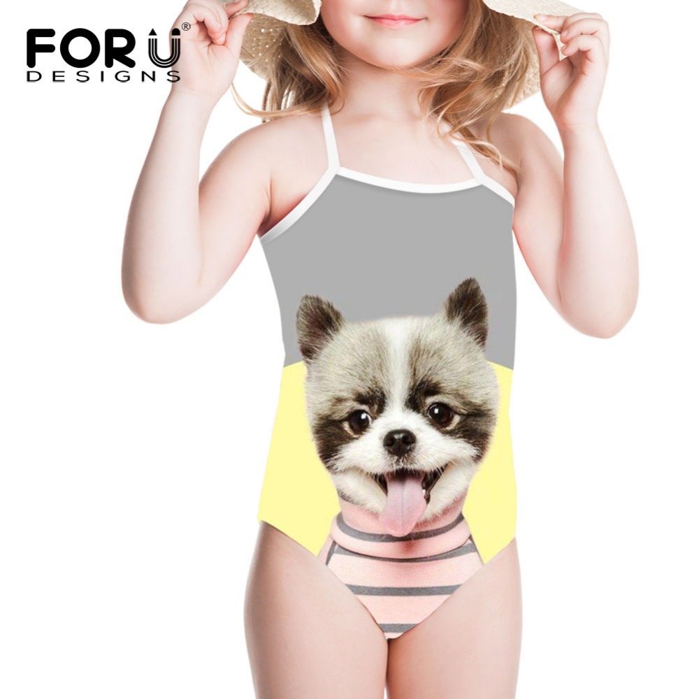 FORUDESIGNS One Piece Swimsuit Girls Swimwear for Kids Kawaii Dog Print Children Bandean Swim Suit Bikinis Sport Beach Wear 2018 forudesigns one piece swimsuit for girls children swimwear friuts strawberry printing bathing suit baby bikinis kids swim suits