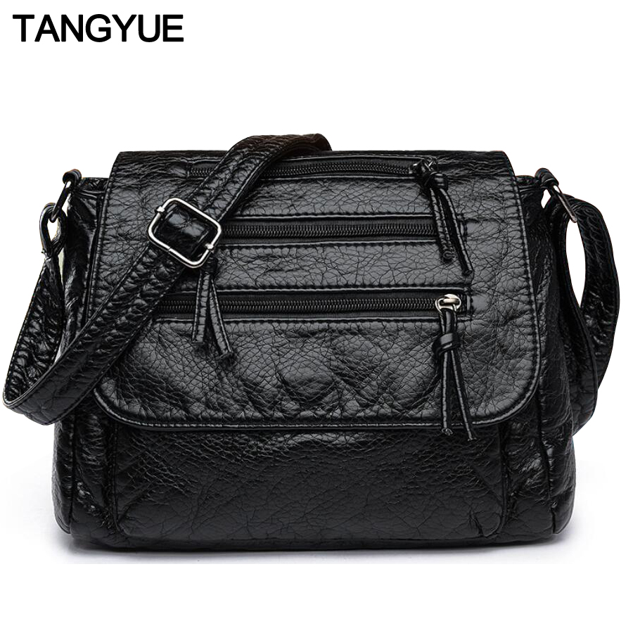 TANGYUE Messenger Bag Women's Shoulder Bag Female Leather Small Black Crossbody Lady Bags for Women canta sac femme bolsas 2018 winmax women small leather shoulder bags girls crossbody messenger bag lady handbag and purse femme sac a epaule bolso black
