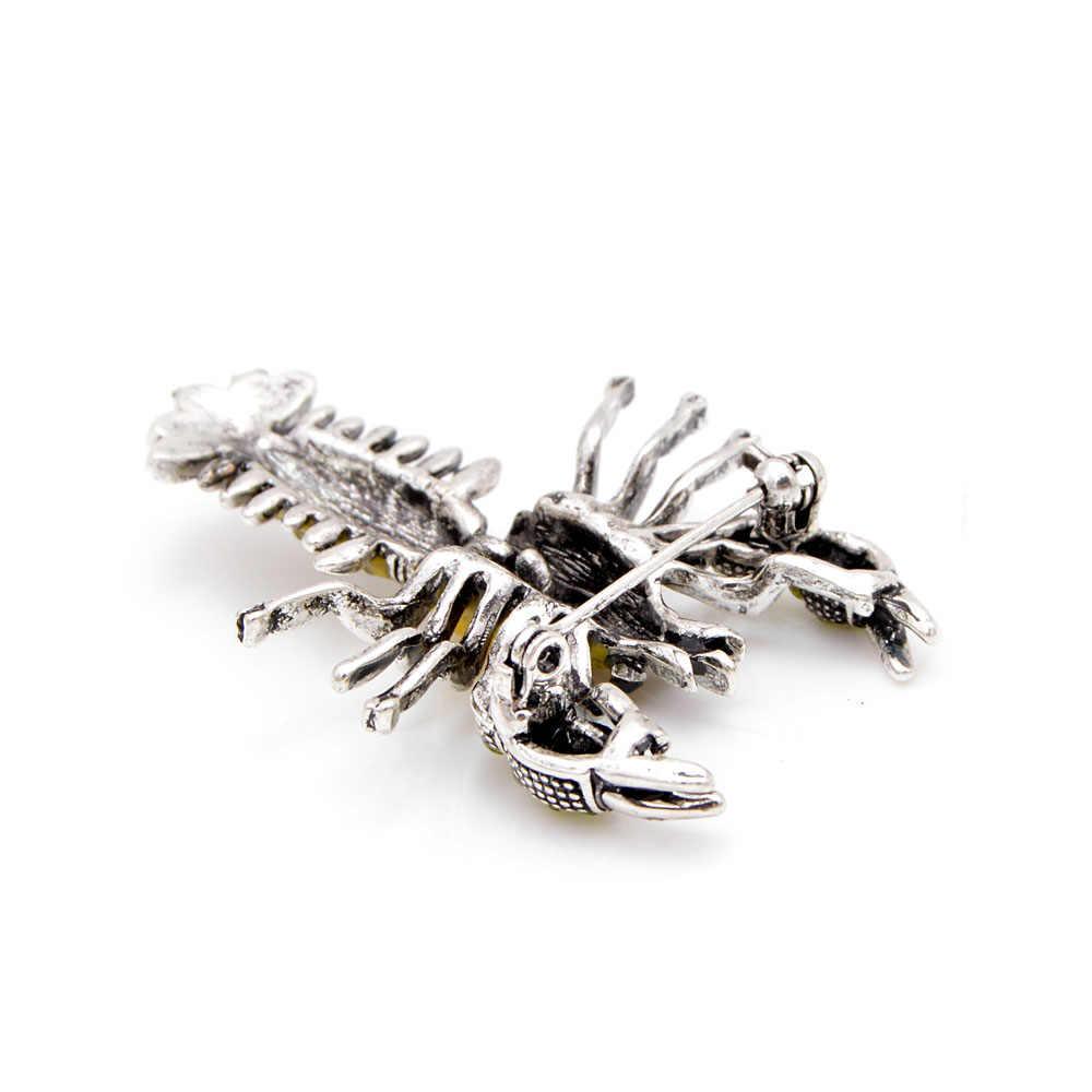 Cinkile Kuning Lobster Lobster Bros Email Kristal Diamante Bros Pin untuk Wanita Gaun Pakaian Deco Aksesoris