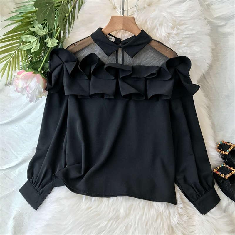 Neploe Japanese Sweet Lace Shirt Strapless Slash Neck Ruffles Blouse Elegant Princess Flare Sleeve Female Blusas Tops 37561 Women's Clothing