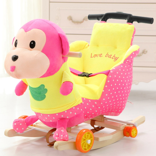Children Rocking Chairs Baby Rocking Horse Ride on Animal Toys Dual-purpose with Music Baby Bouncer Wheel Chair Stroller 5M~4Y 3
