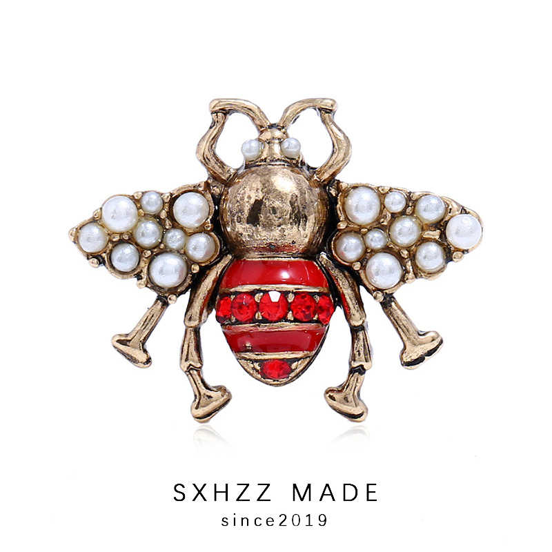 SXHZZ Index Finger Ring Female Large Pearl Ring Adjustable Retro Three-Dimensional Insect Ring Open Pearl Personality Bee Ring