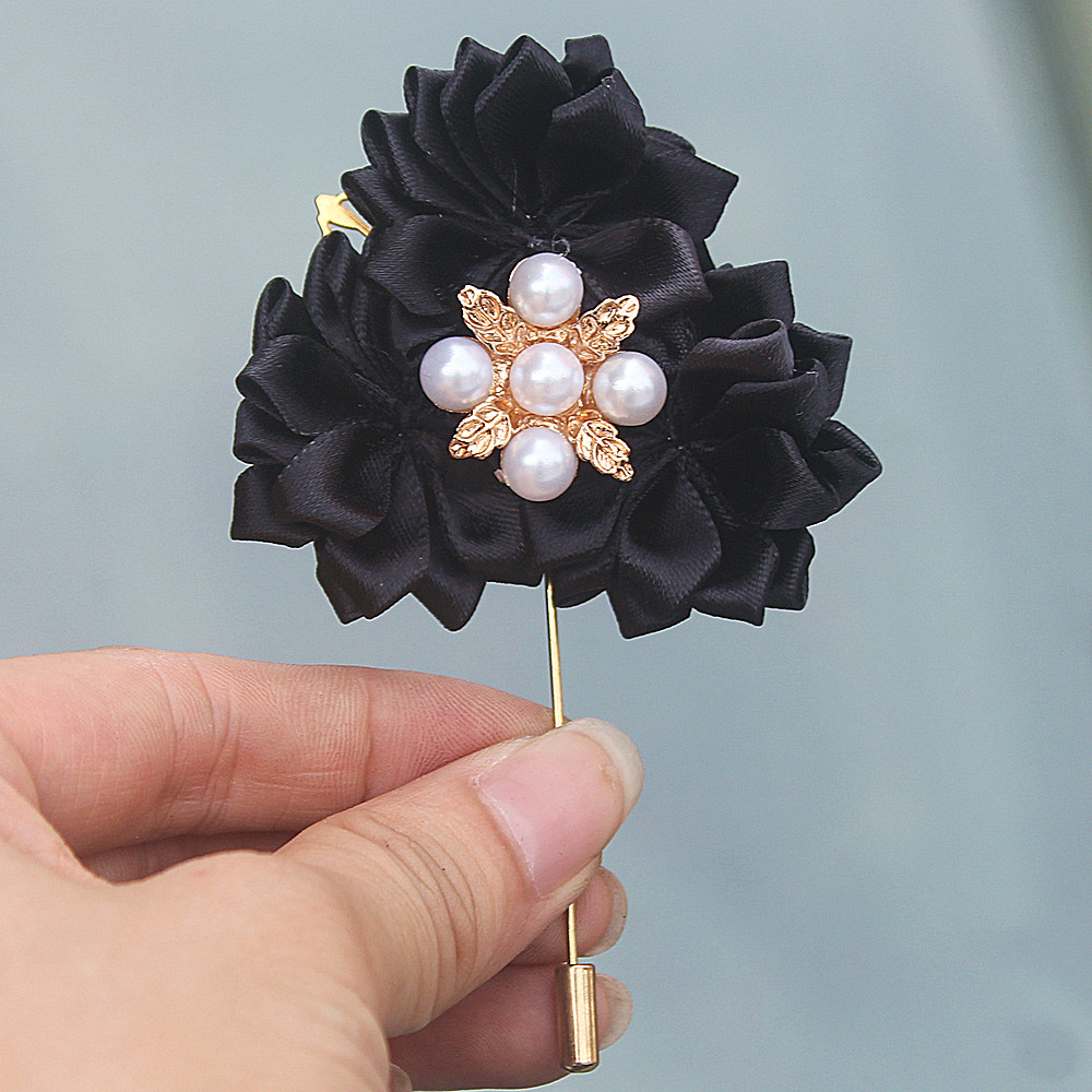 Black Satin Flowers Wedding Suit Corsage Groom Boutonniere Gold ...