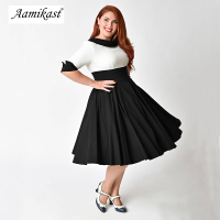 Aamikast Women Sexy Sailor Collar 50s Party A Line Dress Vintage Stretchy Midi Plus Size 4XL