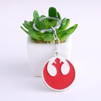 Hot Filme Star Wars Rebel Alliance Símbolo 20 Pçs/lote Vermelho chave Anéis de Fãs de Star Wars Rebel Alliance Chave de Presente de Alta Qualidade cadeias