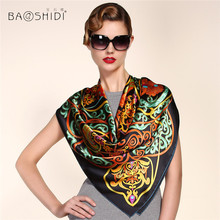 [BAOSHIDI] 100% Silk Satin 106*106 Large Square Scarf , Luxury Brand silk scarf women ,Traditional Chinese element lady scarves