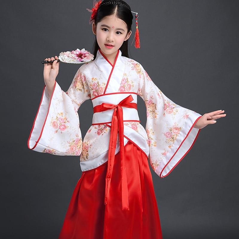 Costume Girls Children Kimono Traditional Vintage Ethnic Fan Students Chorus Dance Costume Japanese Yukata Kimono Style