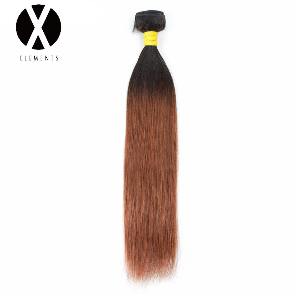 X-Elements Pre-colored Human Hair Bundles T1B/30 Straight Hair Weaves 1 Bundles Peruvian Non-Remy Hair Extensions