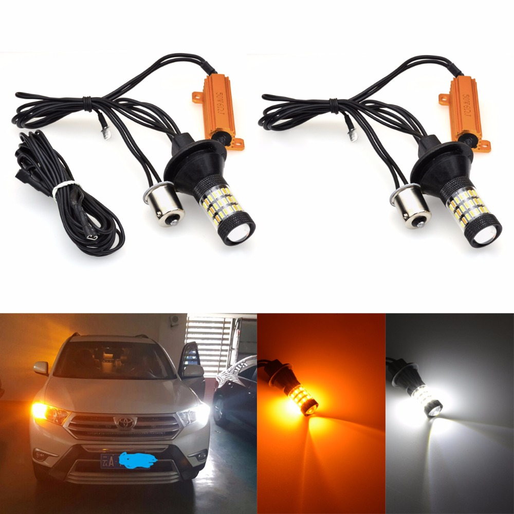 Katur 2pcs BAU15S PY21W LED Turn Signal Bulbs 1156 150 degree Canbus No OBC Error Daytime Running Lights White Amber/Yellow ijdm amber yellow error free bau15s 7507 py21w 1156py xbd led bulbs for front turn signal lights bau15s led 12v