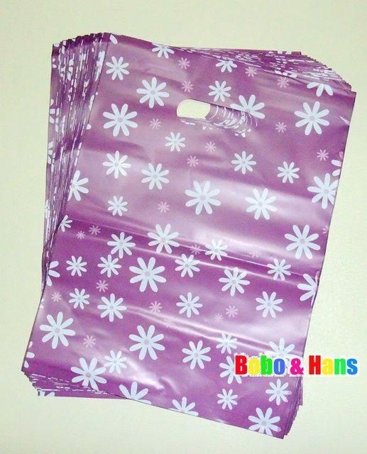 New cute Purple floret 25*33cm PVC shopping bags/Portable gift wrap/gift packaging bag/Fashion new/Wholesale