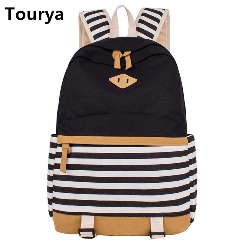 Tourya Preppy 학교 가방 여자 청소년을위한 배낭 귀여운 캔버스 줄무늬 인쇄 여성 노트북 가방 여성 에스코의 모칠라
