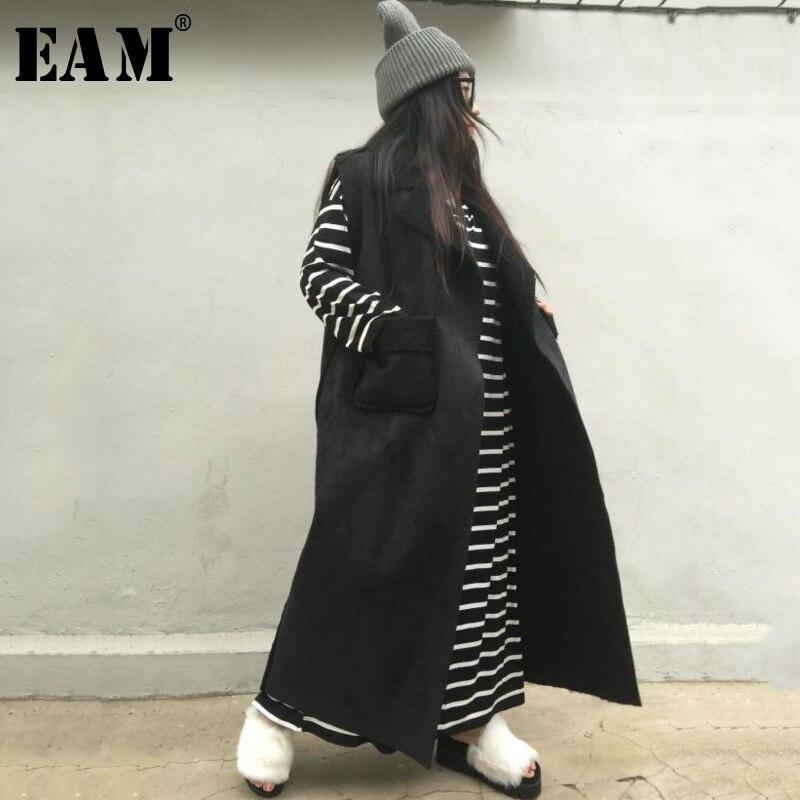 EAM 2019 New Spring Black Casual Open Stitch Temperament Turn down Collar Long Vest Women