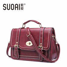SUOAI New Women Shoulder Bags 2015 Fashion Lady Messenger Bag High Quality Female Handbags