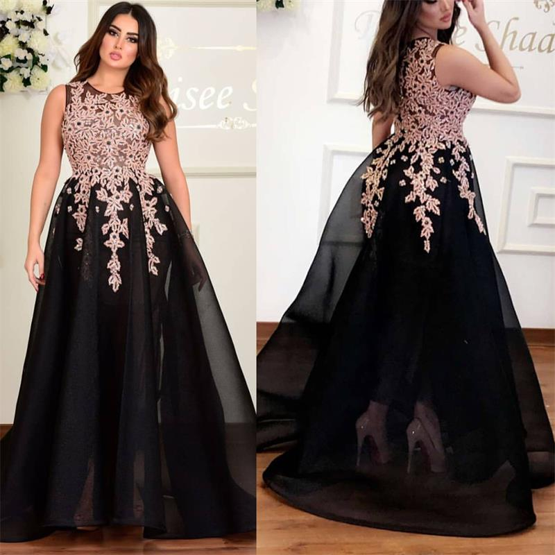 black long   prom     dresses   2020 scoop neckline beading a line tulle evening gown arabic