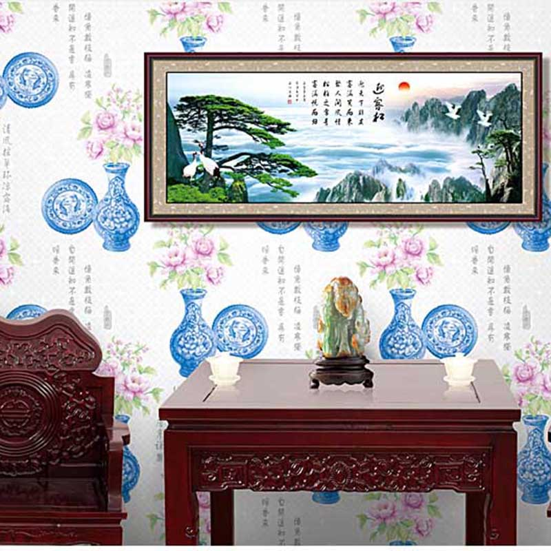 ФОТО Chinese Style Wallpaper Blue And White Porcelain Classical Retro Wall Paper For Bedroom Study Room Living Room PVC Wallcovering