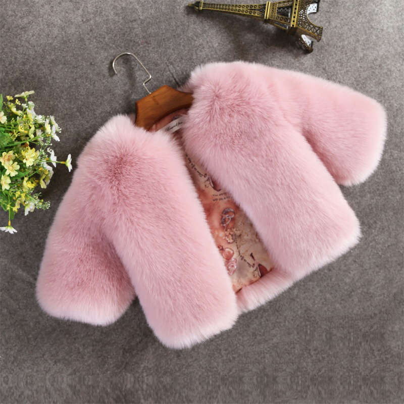 High Quality! Little Girls Winter Coats Toddler Faux Fur Jackets Fluffy Fox Fur Outwear for baby girl Long Sleeve Kid Warm Coat