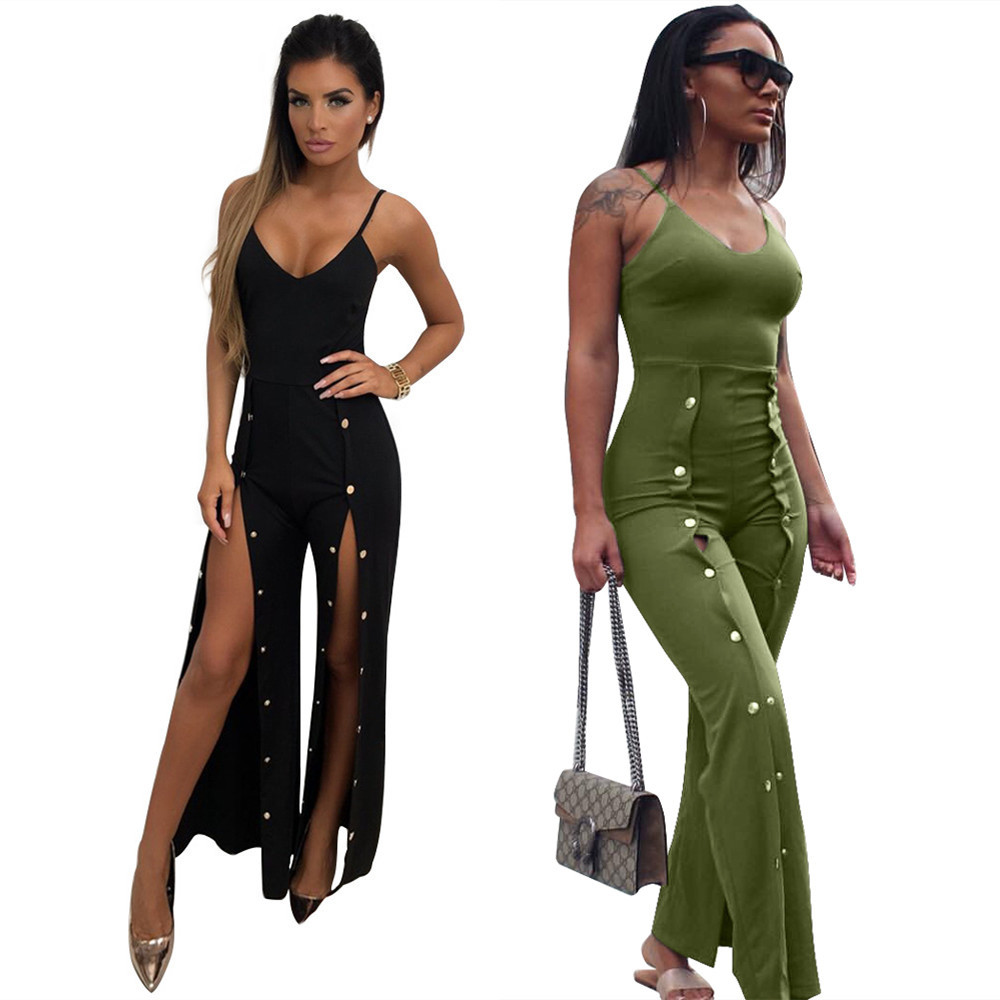 Body Suits For Women Overall Dungarees V Neck Bodysuit Clothes Amazon Jumpsuit Monos Largos Body Mujer Macacao Feminino Longo