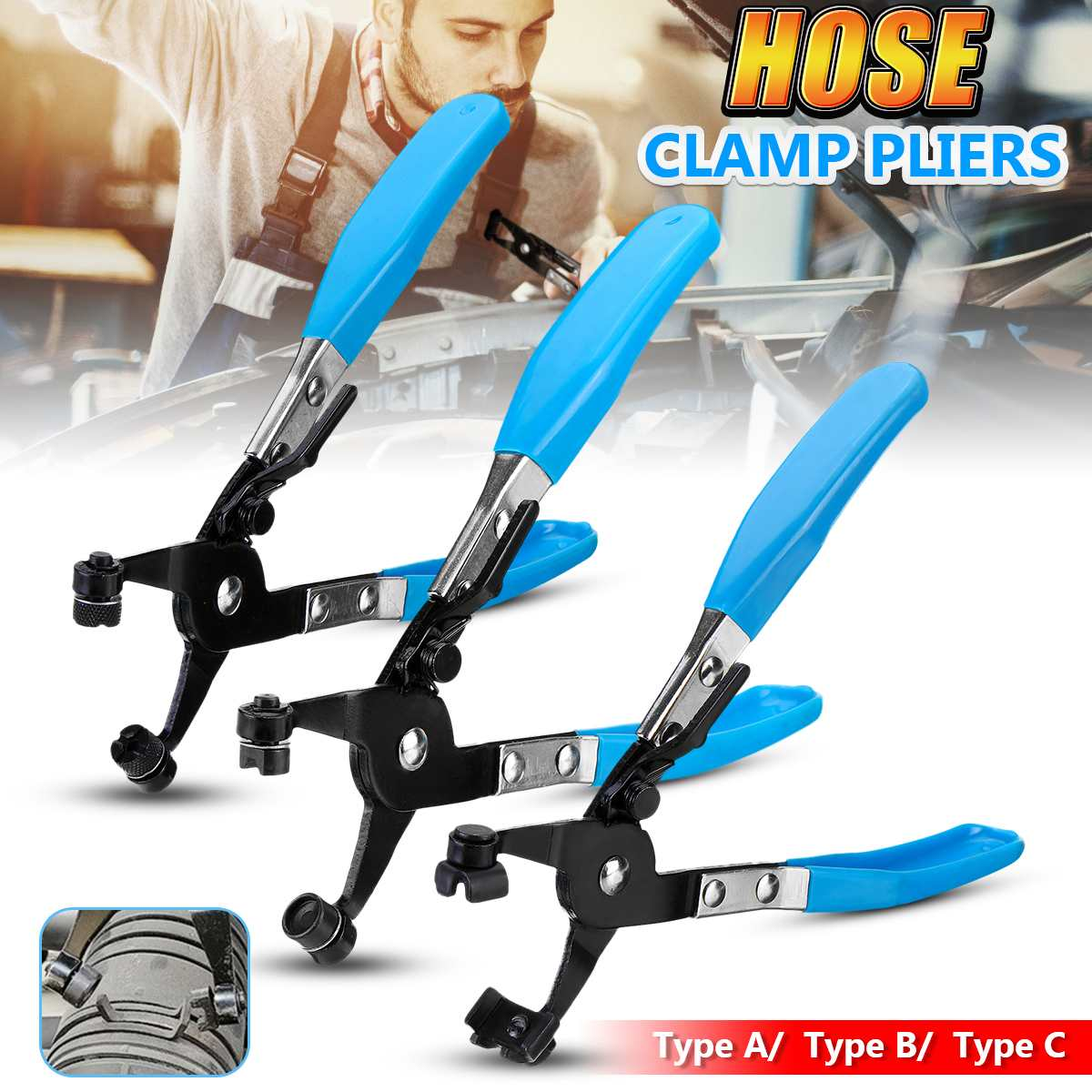 3 Type Flat-Band Ring Spring Type Swivel Hose Clamp Pliers Tool Car Auto Water Pipe Hose Removal Tool Swivel Jaws