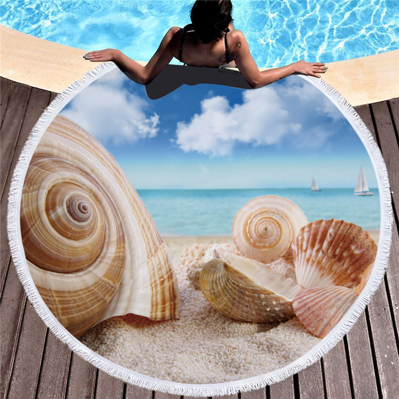 Large Round Microfiber Absorbent Soft Beach Towel Summer Printed Bath Dollar Towel for Adults Kids Toalla Playa Quick Dry Towels