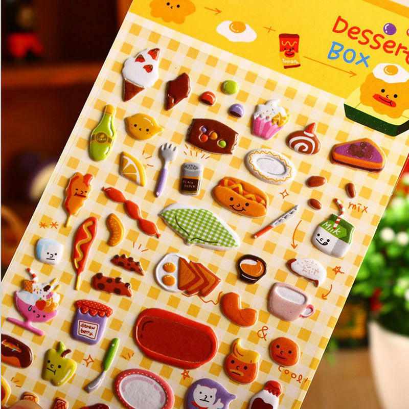 1 Vel snacks party perspectief bubble dagboek decoratieve stickers voor notebook plakboek stickers