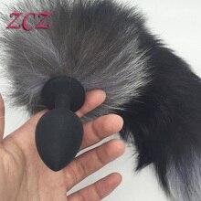 Butt Plug Anal de Silicona negro con Cola de Zorro Del Sexo Juega Para Las Mujeres, Juegos para adultos Productos Del Sexo DX779