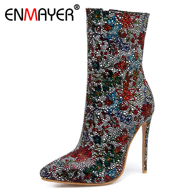 ENMAYER Pointed Toe Printing Ankle Boots for Women High Heels Chelsea Boots Plus Size 34-43 Short Boots Womens Shoes enmayer high heels pointed toe western boots shoes woman lace up cross tied ankle boots for women wedges plus size 34 42 womens