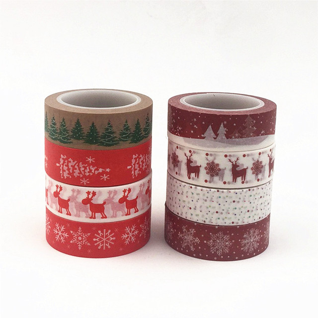 Situado muy cerca de 1 piezas 15mm X 10mm X 10 m nieve ciervos árbol de Navidad decorativo cinta de Washi DIY Scrapbooking cinta adhesiva de la escuela de suministros de oficina