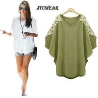 JTCWEAR Loose Plus Size Batwing Woman Tops Tee Shirts Big Size 6xl 5xl 4xl 3xl Lace